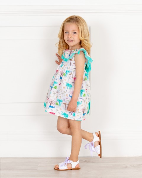 Girls Aqua Green Animal Print Dress with Ruffle Collar & Girls White Glitter Sandals Outfit