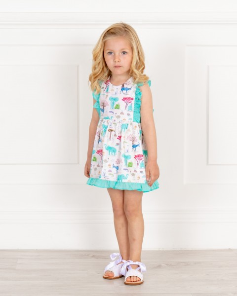 Baby Girls Aqua Green Animal Print Dress with Ruffles & Girls White Glitter Sandals Outfit