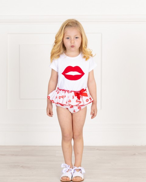 Baby Girls White & Red Lips Print 2 Piece Shorts Set & White Glitter Sandals Outfit