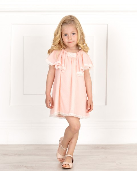 Girls Pale Pink Dress & Ruffle Sleeves & Make-up Patent Leather Sandals Outfit