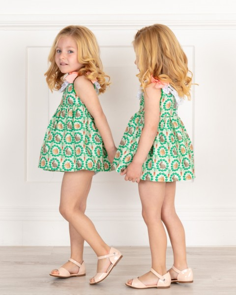 Baby Girls Green & Orange Rabbits Print 2 Piece Dress Set Outfit & Make-up Patent Leather Sandals