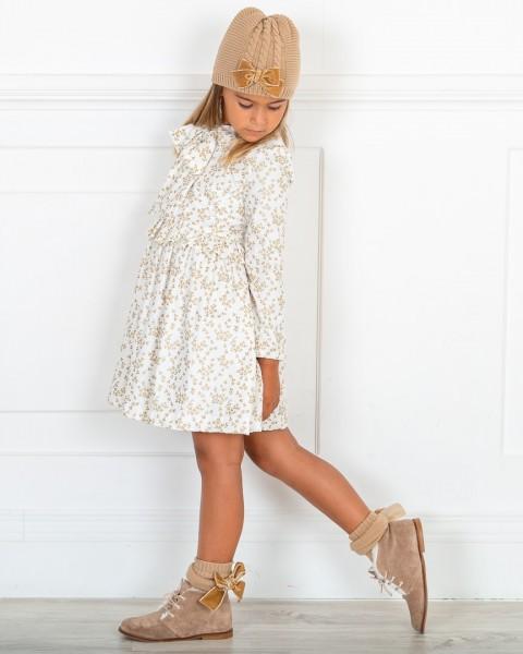 Outfit Niña Vestido Estampado Floral Dorado & Botines Piel Serraje Visón