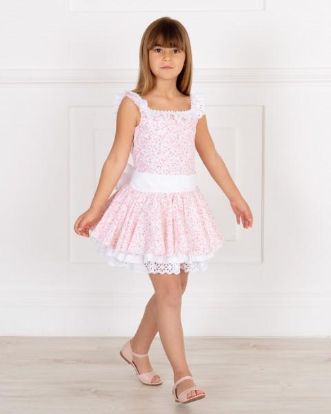 Outfit Niña Vestido Talle Bajo Estampado Liberty Rosa & Maxi Lazada Blanca & Sandalia Rosa