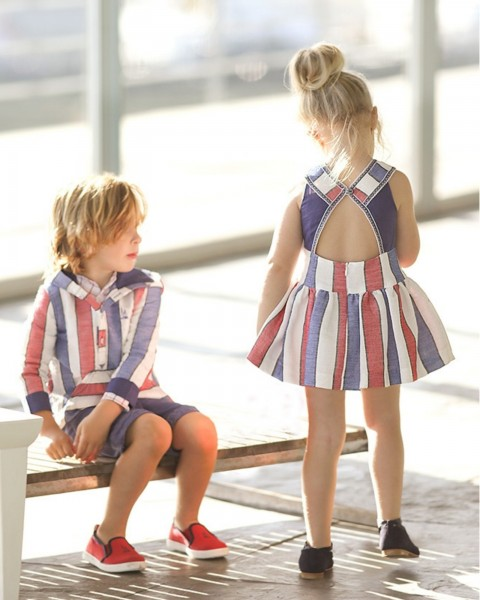 Blue & Red Foque Sailors Outfit