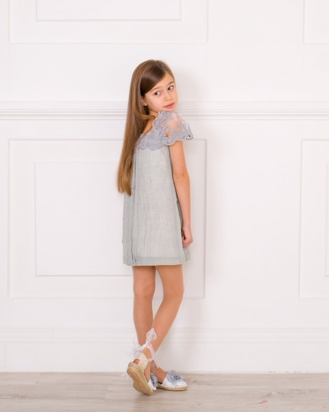 Girls Pearl Grey Muslin Dress with Lace Neckline Outfit