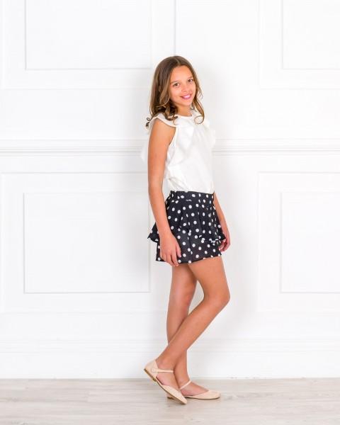 Girls Ivory Blouse & Black White Polka Dot Ruffle Shorts Outfit