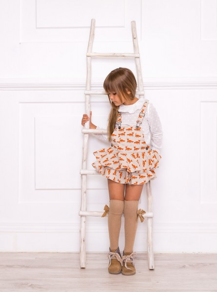 Girls Fox Dungaree Shorts Set with White Cotton Blouse & Beige Boots Outfit