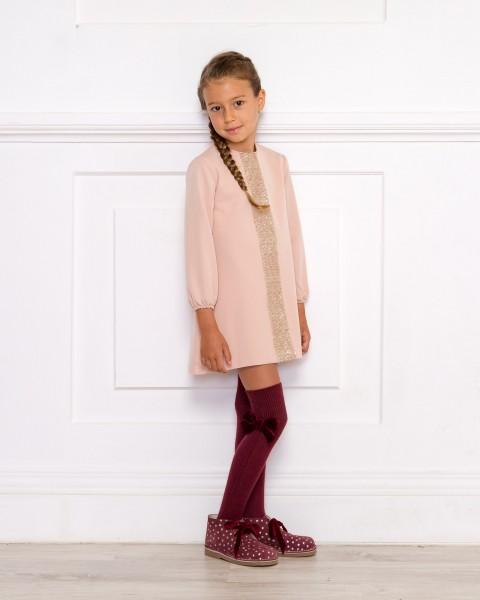 Girls Pink Dress & Mink Boots Outfit
