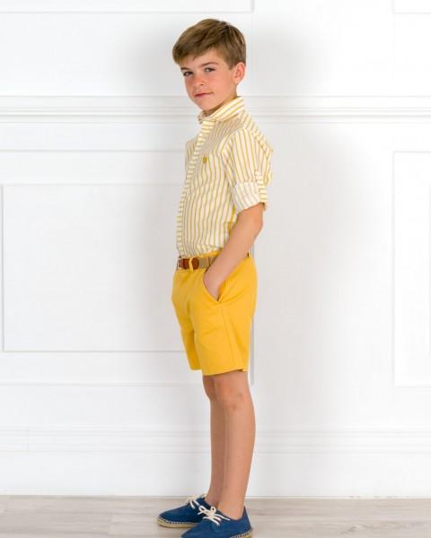 Outfit Niño Camisa Rayas & Short Amarillo Con Cinturón & Alpargatas Piel Serraje Azul