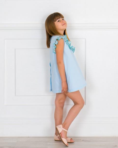 Girls Light Blue Dress & Aqua Green Lurex Polka Dot Asimmetric Ruffle & Make-up Patent Leather Sandals Outfit