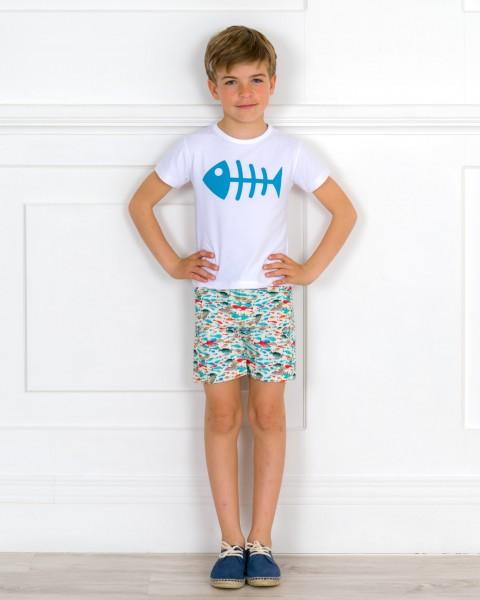 Outfit NIño Camiseta Raspa & Short Peces & Alpargatas Piel Serraje Azul