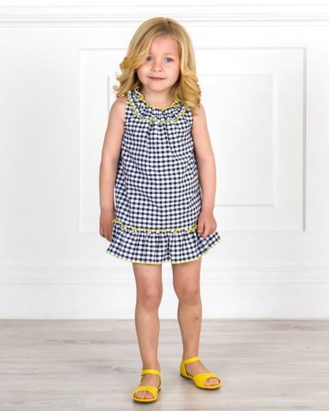 Baby Girls Black Gingham 2 Piece Dress Set & Yellow Leather Sandals Outfit