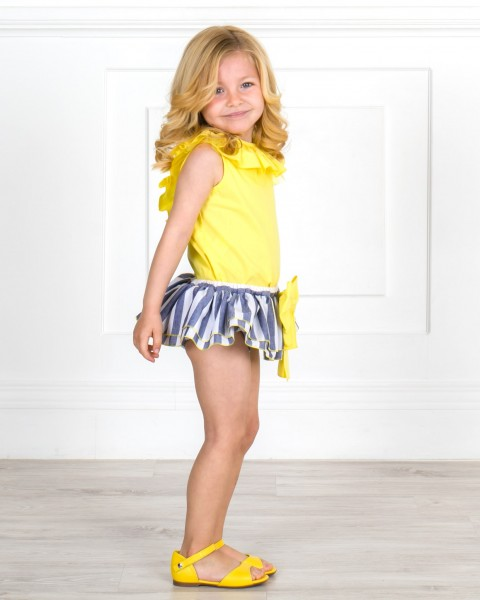 Girls Yellow Shirt & Blue Striped Ruffle Shorts Set & Yellow Leather Sandals Outfit