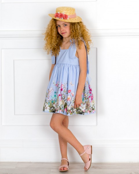 Girls Blue Striped & Floral Print Dress & Pale Pink Leather Sandals & Straw Hat Outfit