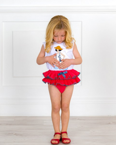 Baby Girls White Sequin Top & Red Ruffle Shorts & Red Leather Sandals Outfit