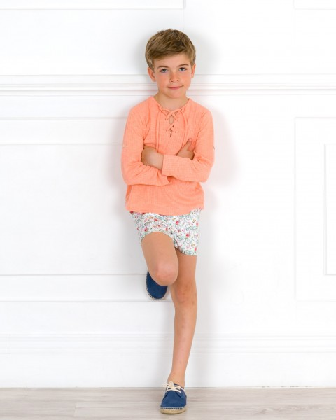 Boys Coral Pink T-Shirt & Boys Bikes Print Short & Blue Espadrilles Outfit