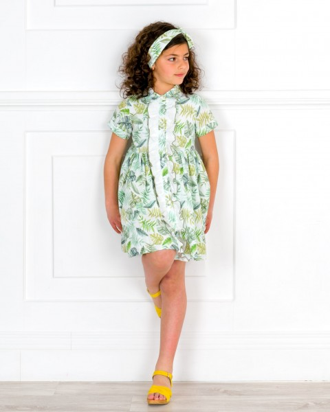 Girls Tropical Print Dress Shirt Outfit & Hariband & Pale Yellow Wooden Clogs Sandals