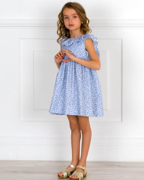 Girls Blue Liberty Print Dress & Ruffle Collar & Golden Wooden Clogs Sandals Outfit