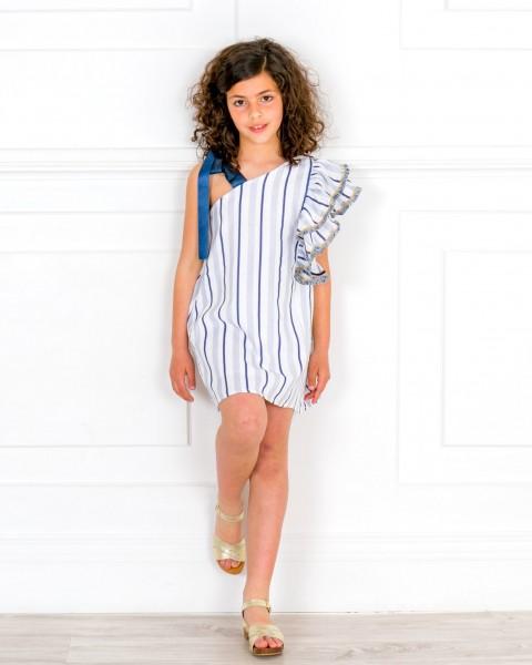 Girls White & Blue Striped Off The Shoulder Shift Dress & Girls Golden Wooden Clogs Sandals Outfit