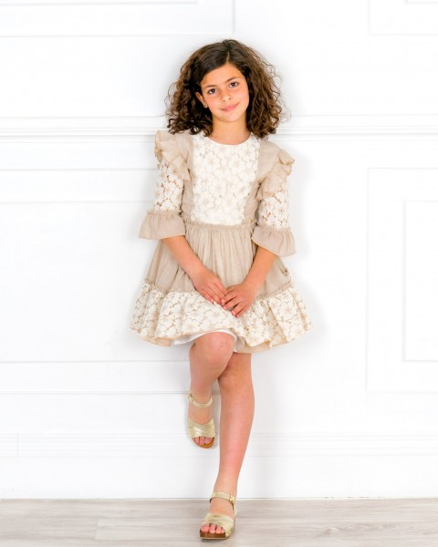 Girls Ivory & Beige Lace Ruffle Dress & Golden Wooden Clogs Sandals Outfit