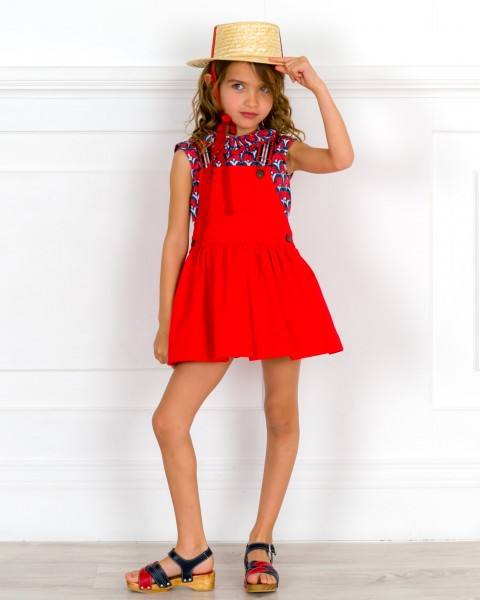 Baby Girls Navy Blue & Red 2 Piece Dress Set & Red Sandals & Beige Straw Hat Outfit