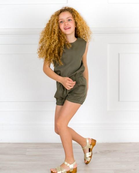 Girls Green Tencel Playsuit Girls & Golden Wooden Clogs Sandals Outfit