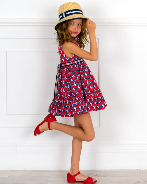 Girls Navy Blue & Red Floral Print Dress & Red Leather Sandals & Straw Hat Outfit