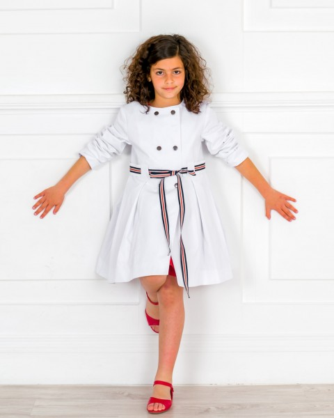 Girls White Trench Coat & Girls Red Leather Amelia Sandals Outfit