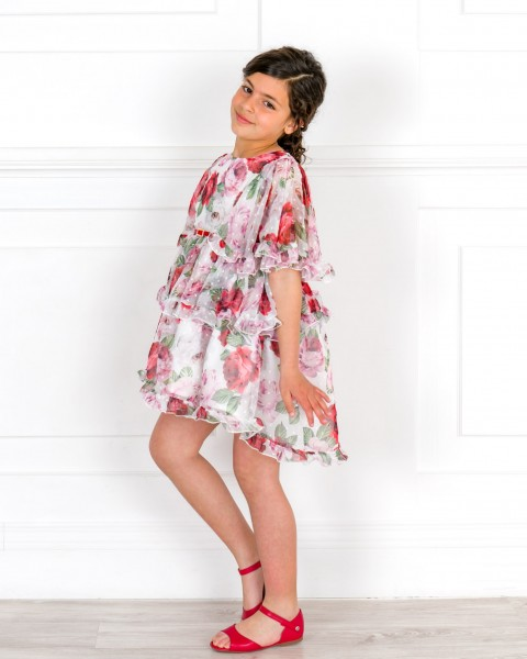 Girls Rose Print Chiffon Asymmetrical Dress & Girls Red Leather Amelia Sandals Outfit