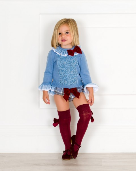 Baby Girls Light Blue Knitted Sweater & Checked Print Shorts Outfit Set
