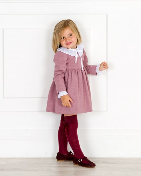 Girls Dusky Pink Jersey Dress & White Blouse Outfit