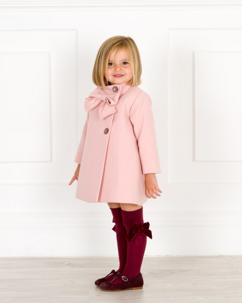 Girls Pink Bow Coat Outfit