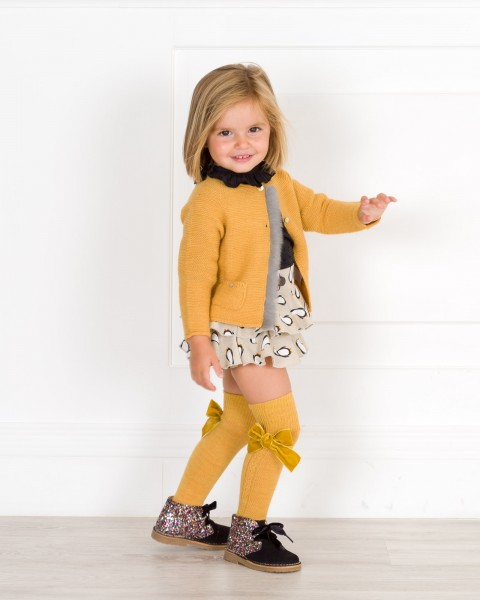Penguin Dungaree Shorts Set Outfit & Mustard Knitted Cardigan