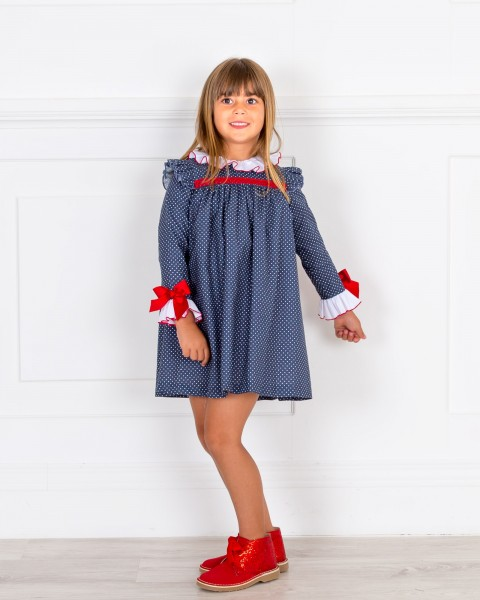 Girls Blue Polka Dot Dress & Red Glitter Boots Outfit