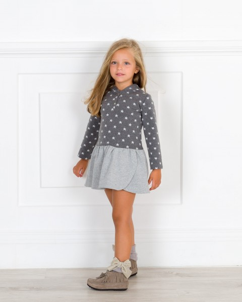 Girls Grey Star Print Hooded Jersey Dress Outfit