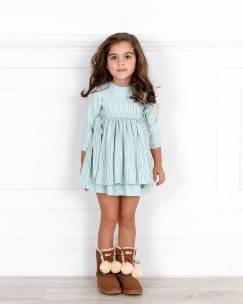 Girls Pastel Green Checked Apron Dress Outfit
