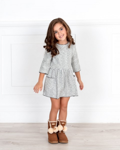 Girls Light Grey Zig-Zag Dress with Beige Coat & Boots Outfit
