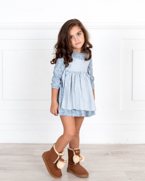 Girls Floral Print Apron Dress & Beige Boots Outfit