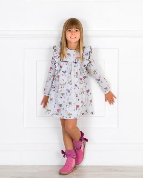 Girls Grey Llama Print Dress & Pink Glitter Boots Outfit