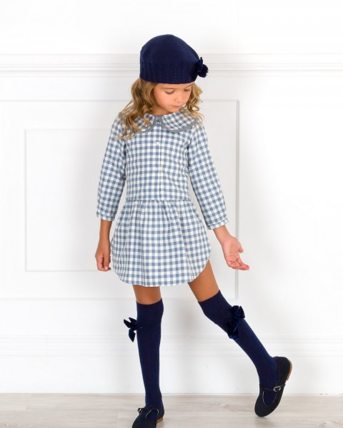 Girls Blue Gingham Dress with Peter Pan Collar Outfit
