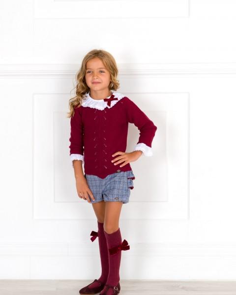 Girls Burgundy Sweater White Blouse & Blue Glen Plaid Shorts Set Outfit