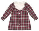 Beige Intarsia Pattern Sweater & Burgundy Tartan Shorts Set