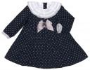 Navy Blue Dress with Light Gray Polka Dots, Ruffle & Bow