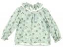 Pale Green Ruffle Collar Blouse & Corduroy frill Shorts set