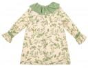 Vestido Estampado Flores & pajaritos verde pastel