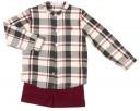 Boys Burgundy & Gray Check Print Shirt & Short Set