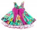 Emerald Green Floral Flared Dress