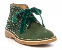 Girls Green Suede & Glitter Boots with Velvet Bows