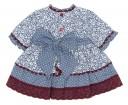 Baby Blue & Burgundy Floral Dress & Bonnet Set