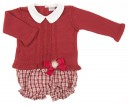 Baby Burgundhy Knitted Sweater & tartan short set